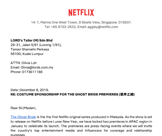 Netflix Costume Sponsorship